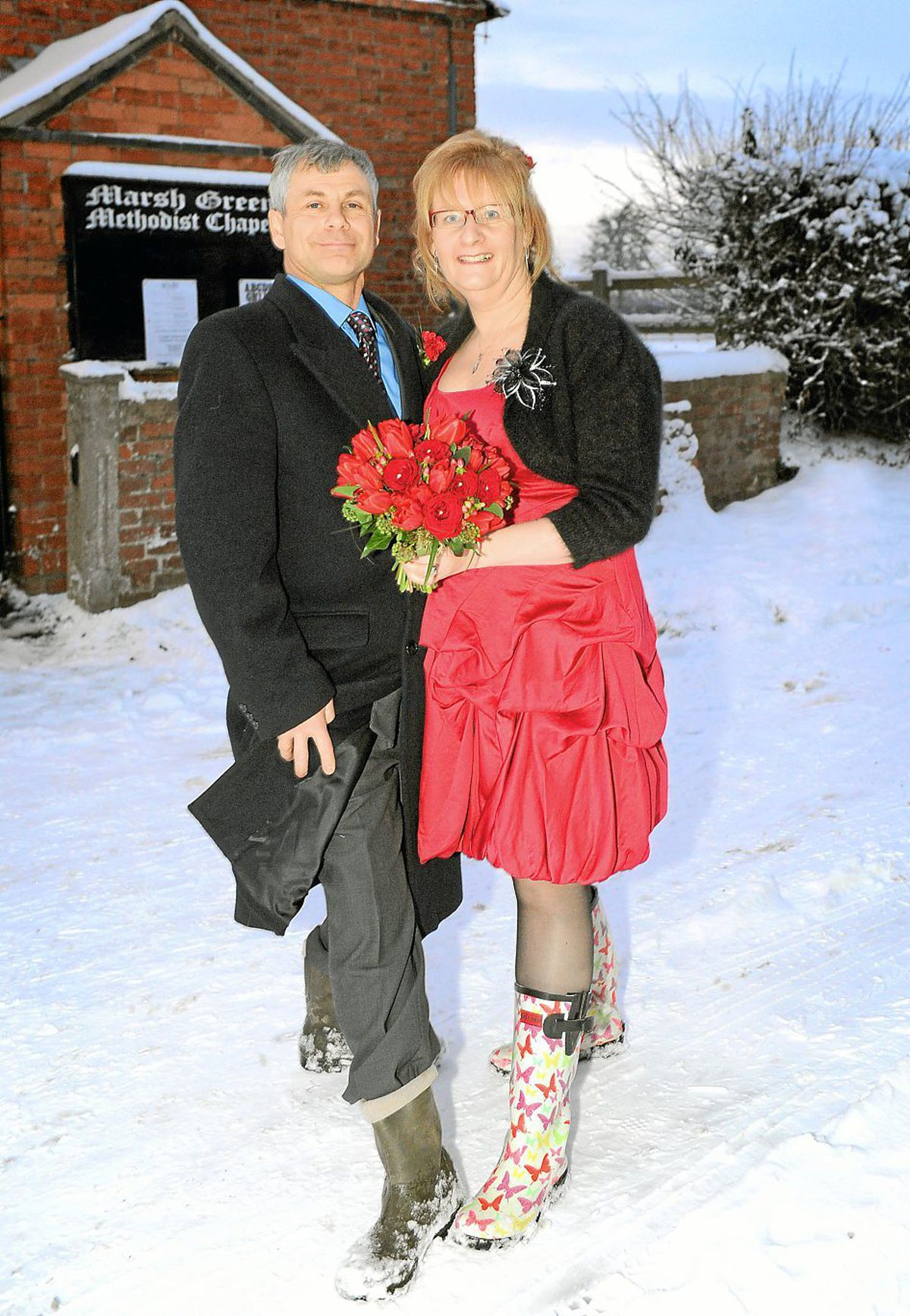 Stuart and Helen Williams got married at the chapel in their wellies after battling through snowfall in December 2010