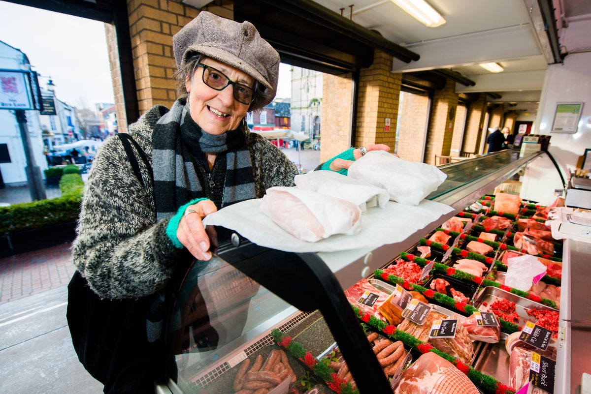 Diana Baur with her meat wrapped up in greaseproof paper.