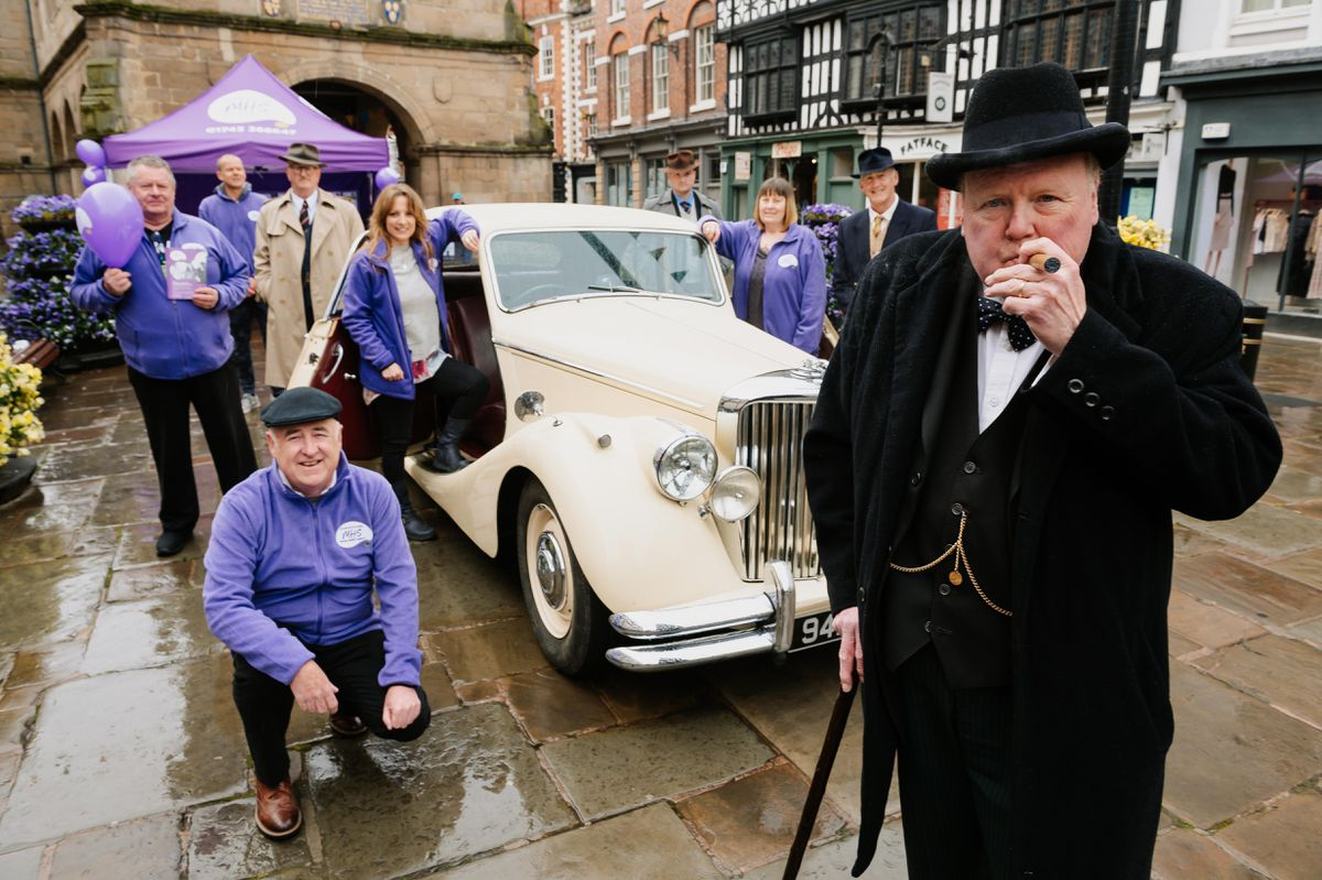 Winston Churchill impersonator Winstan, played by Stan Streather, volunteered his time to support the relaunch event of Shropshire Mental Health Support (MHS), formerly known as Shropshire Mind