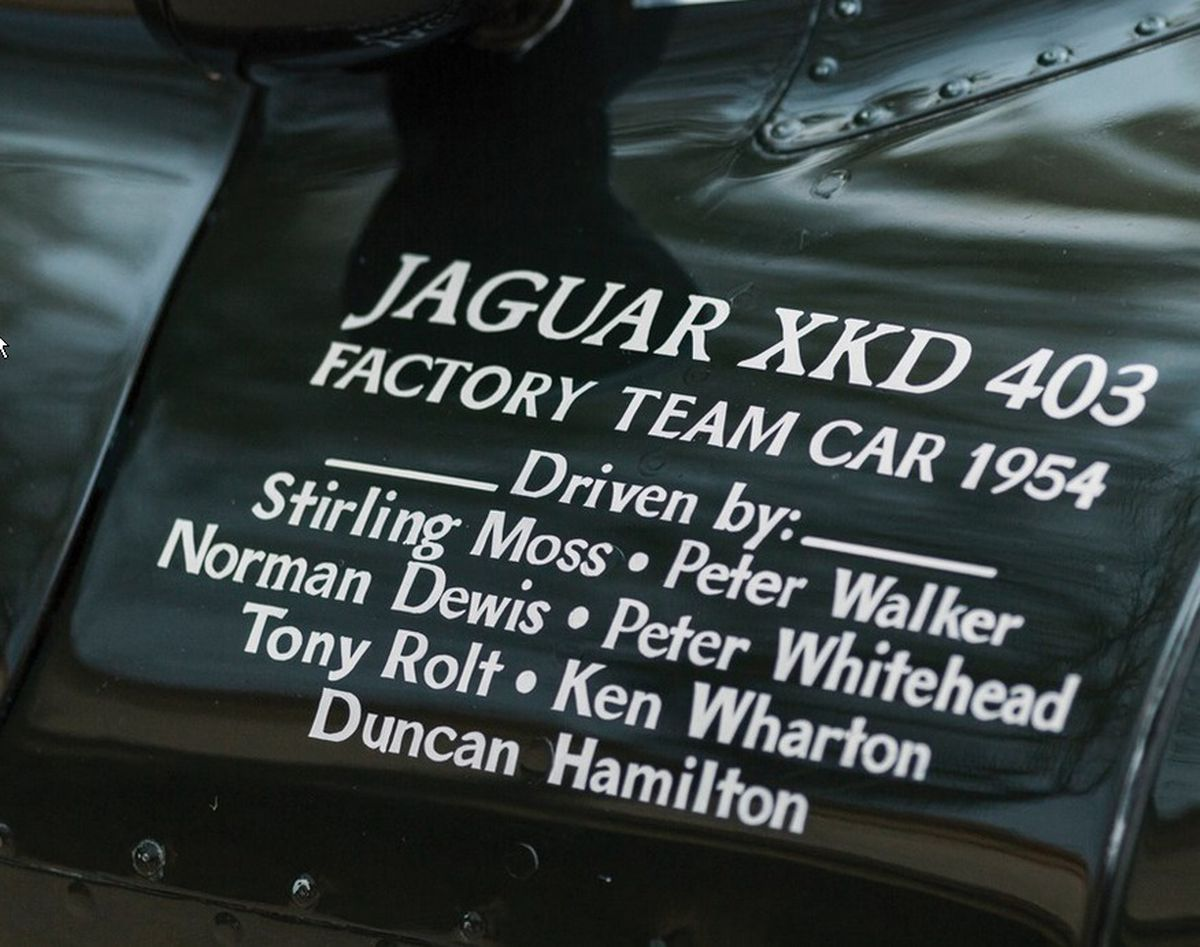 Roll of honour: Norman Dewis and Stirling Moss among the big names to have driven this D-Type. Picture credit: Patrick Ernzen © 2017 Courtesy of RM Sotheby's