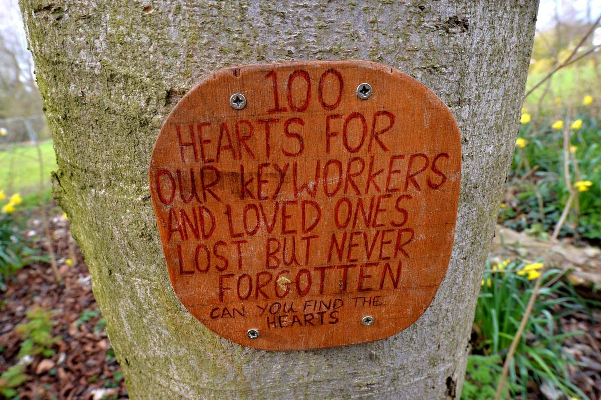Someone has set up a trail of 100 wooden hearts