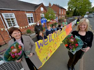 Sue Bryon, who is leaving Church Aston Infant School after 27 years, with head Jenny Griffiths and pupils