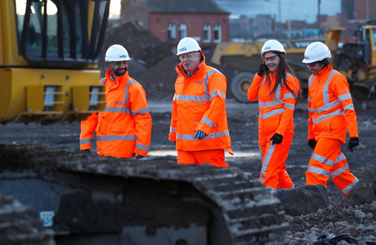 Boris Johnson stopped off in Birmingham to visit the HS2 station under construction in the city