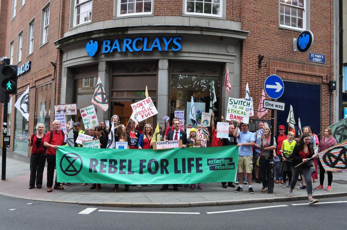 Extinction Rebellion Shrewsbury held a protest at Barclays