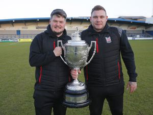 Shifnal Town joint managers Andrew Carrier and Danny Carter with the TJ Vickers Shropshire FA Premier Cup