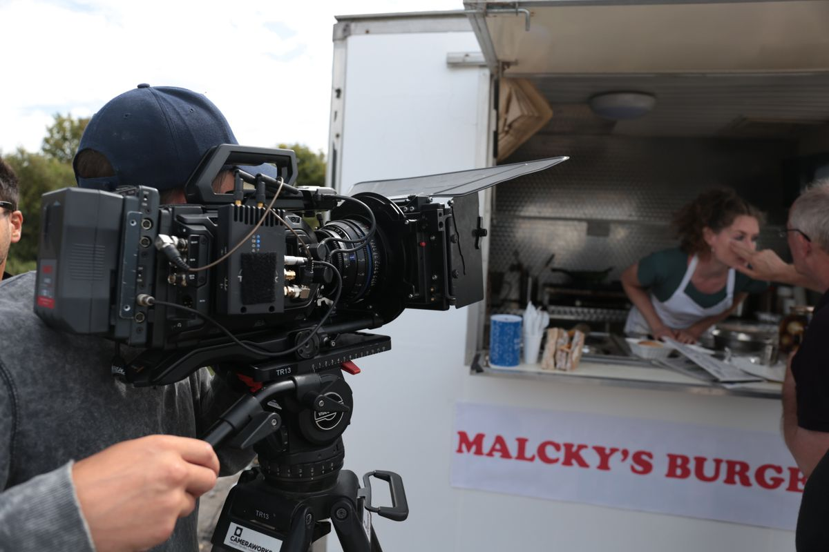 Cast and crew working on Falklands Square film
