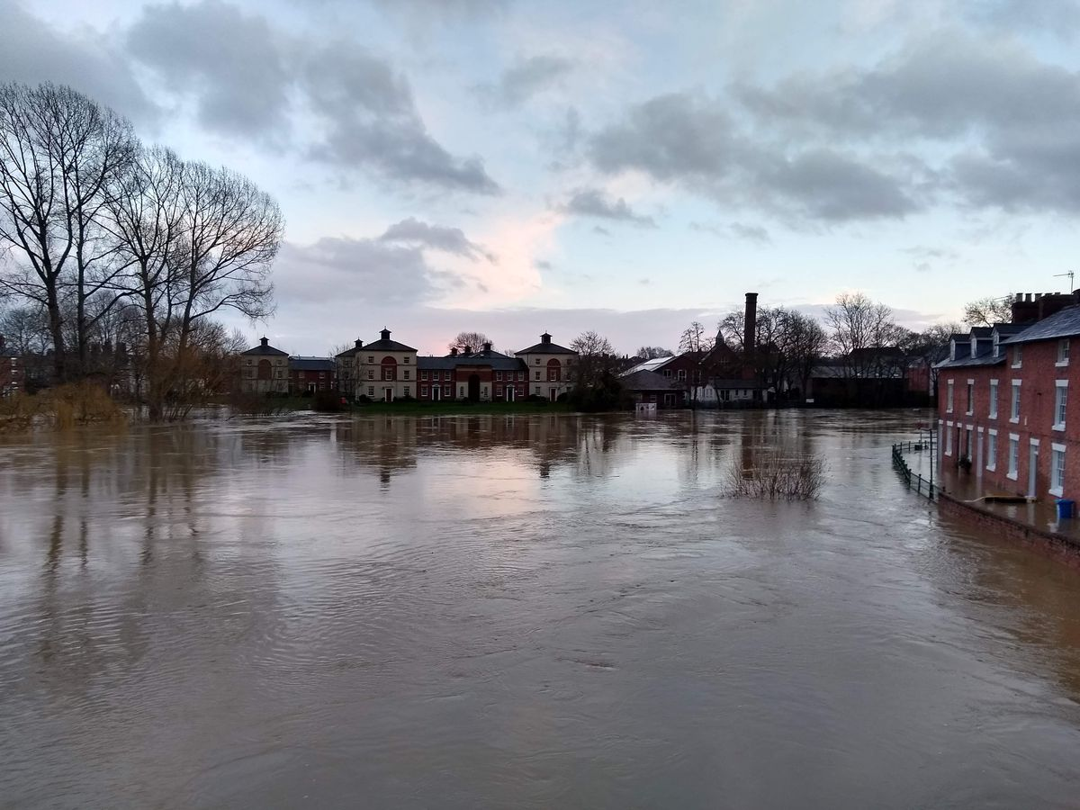 The River Severn in Shrewsbury yesterday afternoon