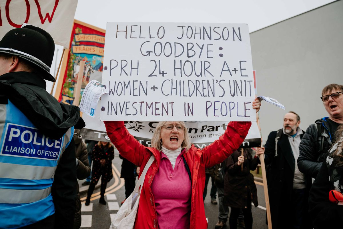 Labour protesters gathered at Telford International Centre