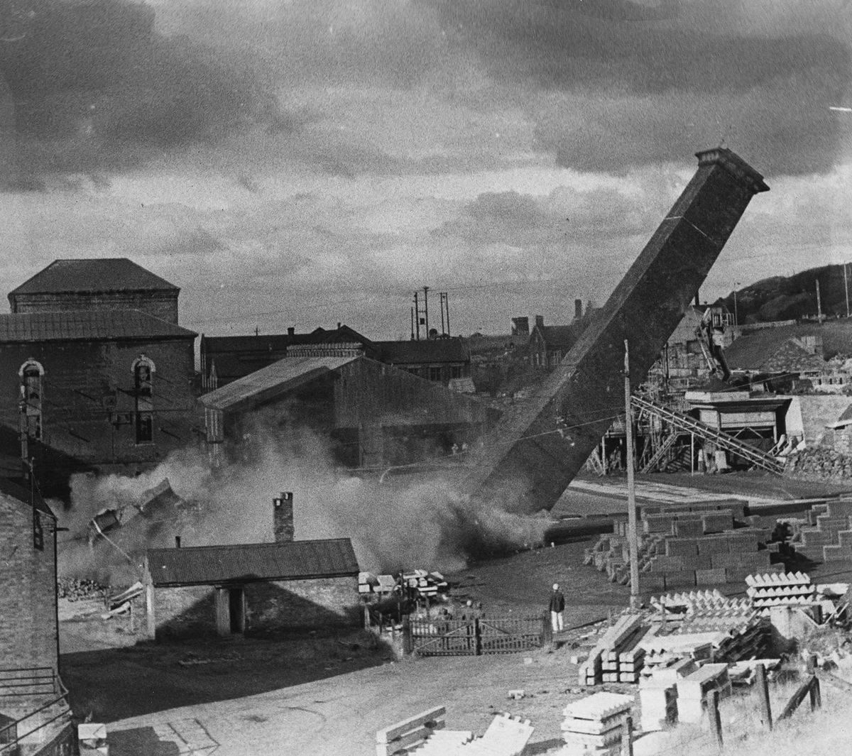 A chimney is felled at Snedshill in October 1967.
