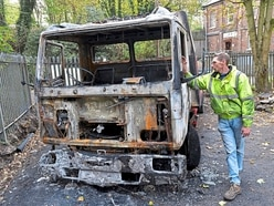 Truck torched by gang at Telford recovery company
