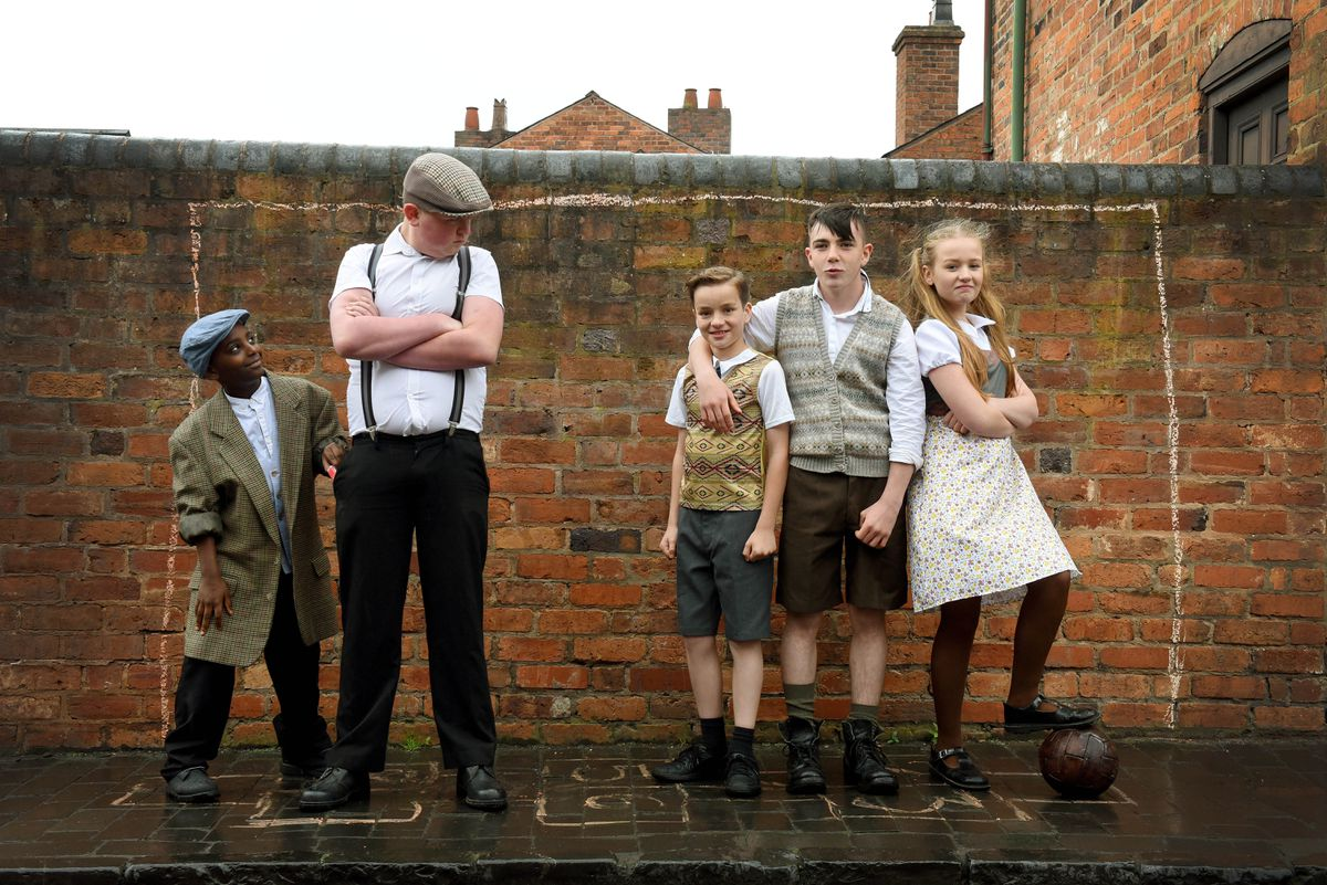 Filming 'The Boy who Had It All', about Duncan Edwards, at the Black Country Museum. Lovell McIntosh, Ollie Greenham, Ben Avery, Callum Hay and Ella George