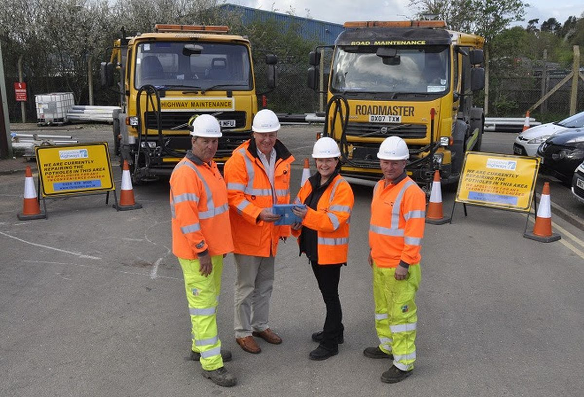 With the Roadmaster vehicles at the Longden Road depot in Shrewsbury are John Link, from Kier, Councillor Steve Davenport and Lucy Bailey and Gavin Andrew, from Kier