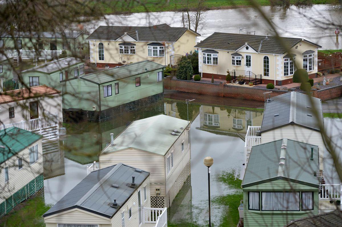 Much of Severn Valley Caravan Park near Bridgnorth was under water on Wednesday
