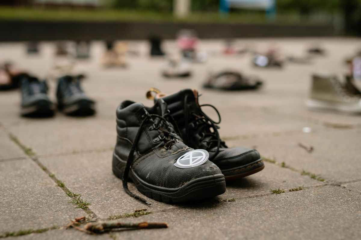 Shoes left outside Shirehall by XR protesters
