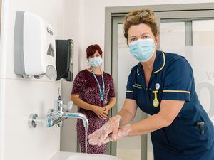 Sue Sayles, infection prevention and control nurse, right, with Hayley Gingell, infection prevention and control personal assistant and data analyst