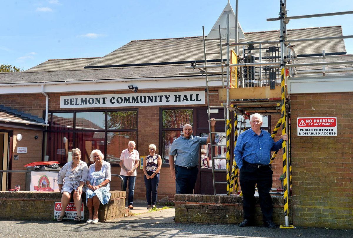 Belmont hall chair Maureen Ray, with Maureen Powell, Newton Davies, Lisa Jacobs, Earl Patrick and Stephen Handley