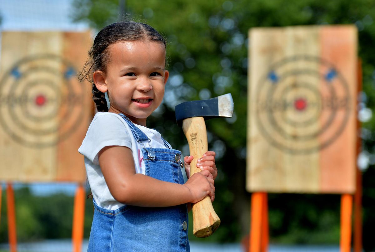 Aliyah Allen, three, from Telford, at the Water's Edge Festival