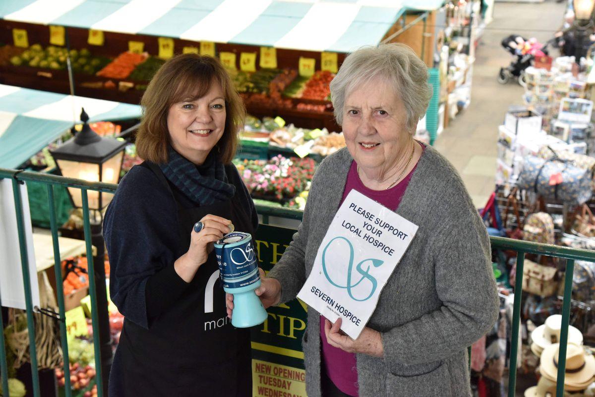 Market Hall facilities manager Kate Gittins with charity fundraiser June Beharrell