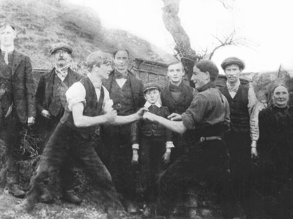 Bare knuckle fighting was popular and crowds came to watch. This picture was taken in Cornbrook, Clee Hill, in about 1914.