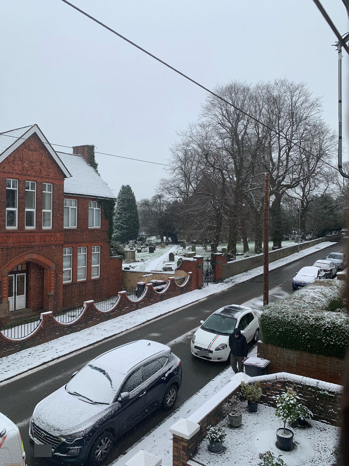 Snow falling in St Georges, Telford, today. Pic: Nigel Martin