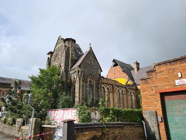 The extent of the collapsed roof at the Bethel Chapel. Photo by Richard Lewis, Hughes Architects