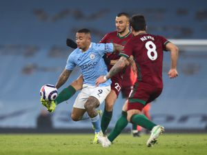 Gabriel Jesus of Manchester City and Romain Saiss of Wolverhampton Wanderers (AMA)