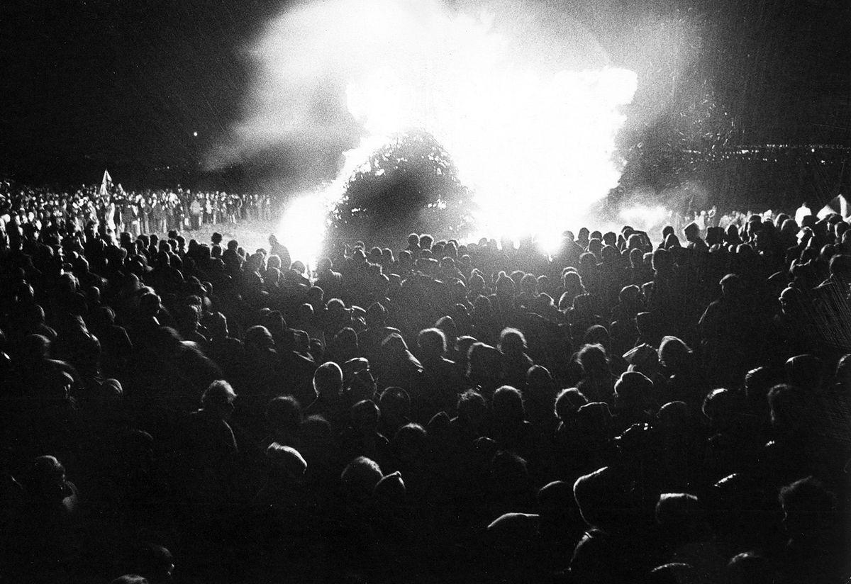 The lighting of a bonfire on The Wrekin drew a huge crowd.