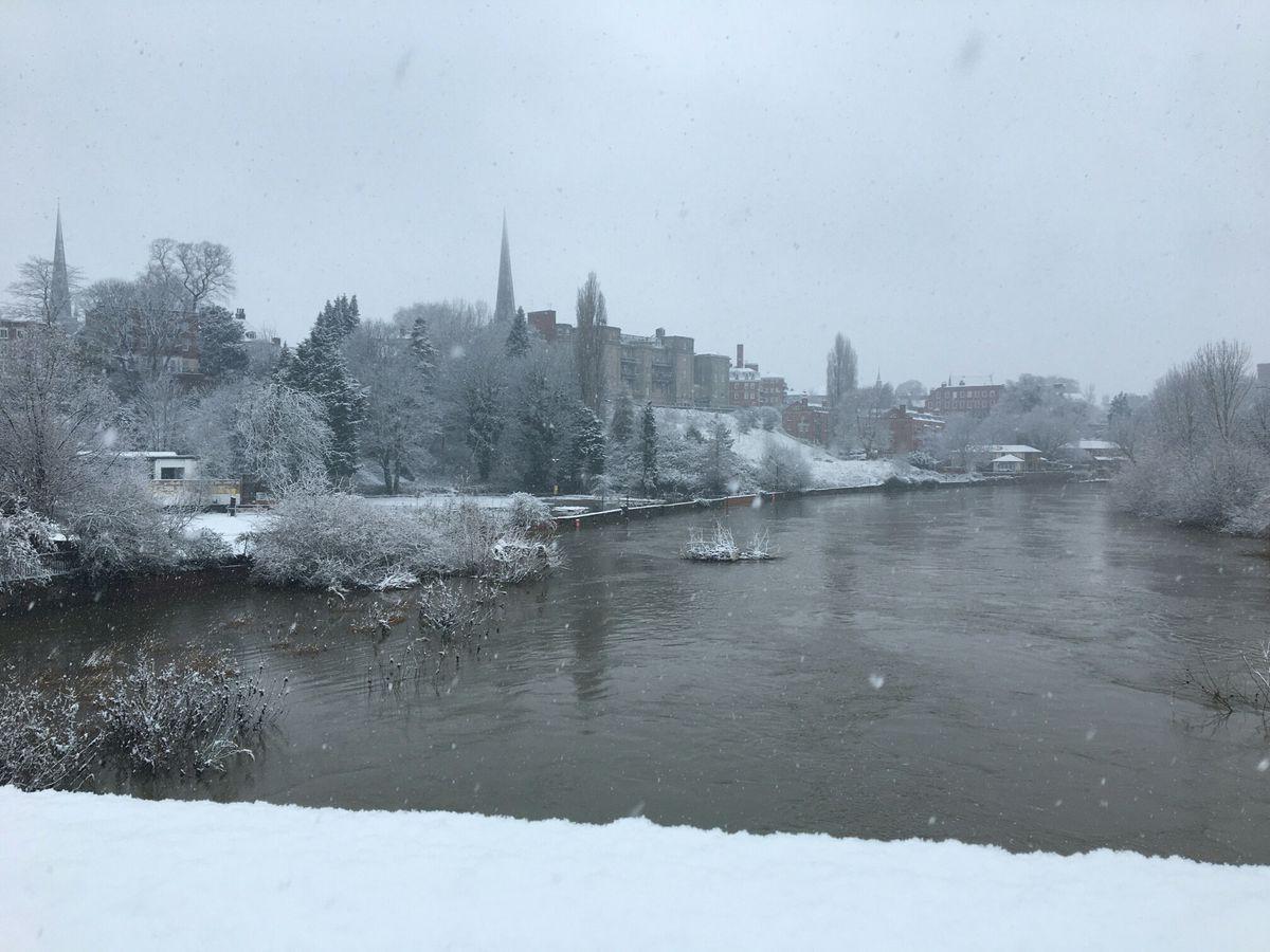 Snow falls into the River Severn viewed from English Bridge, Shrewsbury. Photo: Serina Kirkwood