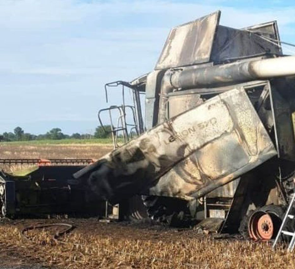 The combine harvester that was involved in the fire. Photo: Market Drayton Fire Station