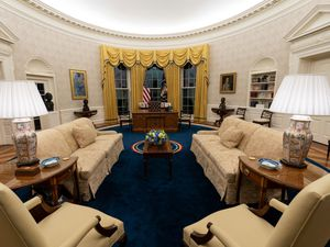The Oval Office of the White House is newly redecorated for the first day of President Joe Biden's administration in Washington