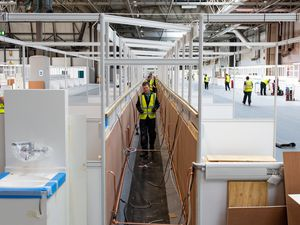 Work continues at the new temporary NHS Nightingale Birmingham Hospital at the NEC, which is being built to provide care for an increased number of patients requiring treatment during the COVID-19 pandemic