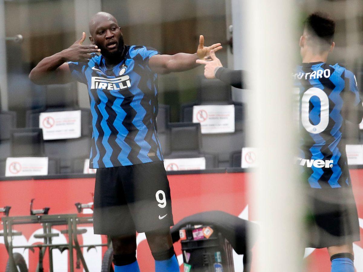 Lautaro Martinez, right, scored twice and Romelu Lukaku, left, sealed matters at the San Siro