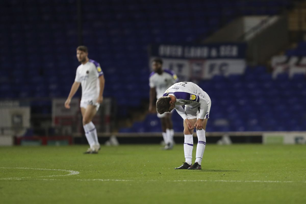 A dejected Ryan Barnett of Shrewsbury Town after Jack Lankester of Ipswich Town scored a goal to make it 2-1. (AMA)