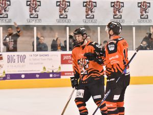 Telford Tigers v Solway Sharks 3/2/19 by Steve BrodieNIHL North Cup semi-final second legAdam Taylor, goal scorer, and Jonathan Weaver