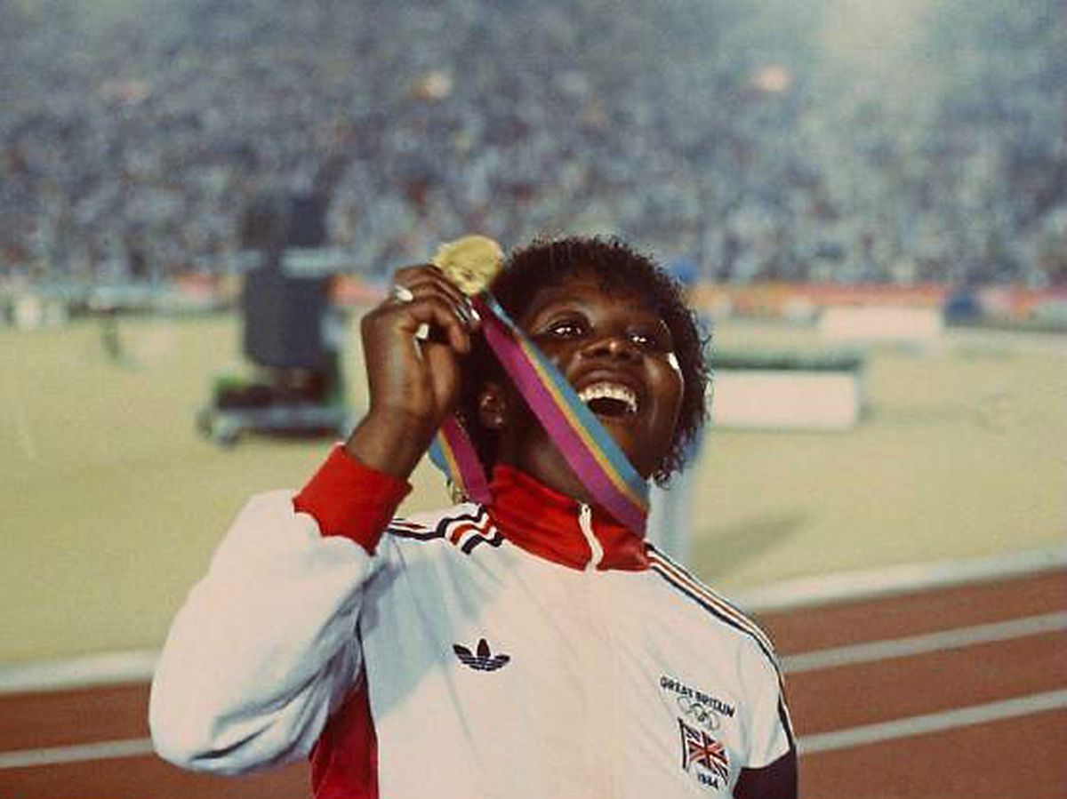 Tessa Sanderson with her Olympic gold medal in 1984