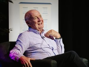 Rick Stein at Moreton Hall's new Holroyd Community Theatre for Booka Bookshop of Oswestry