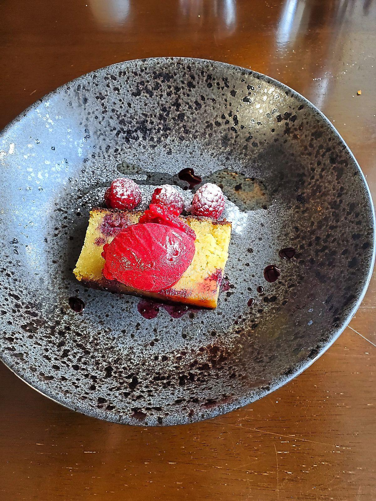 Lemon frangipane with raspberry sorbet