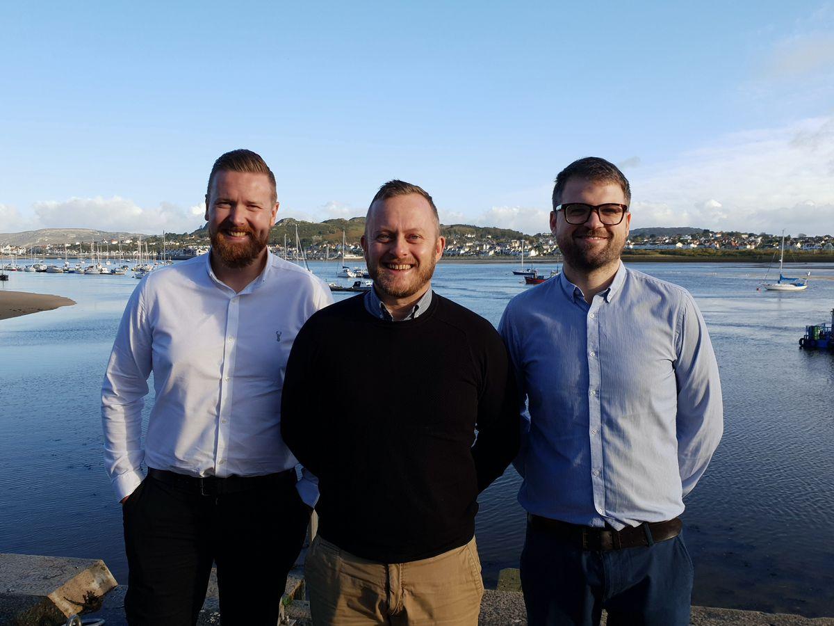 Base director Harry Reece, senior associate Bryn Jones and practice associate Ben Embrey in Conwy