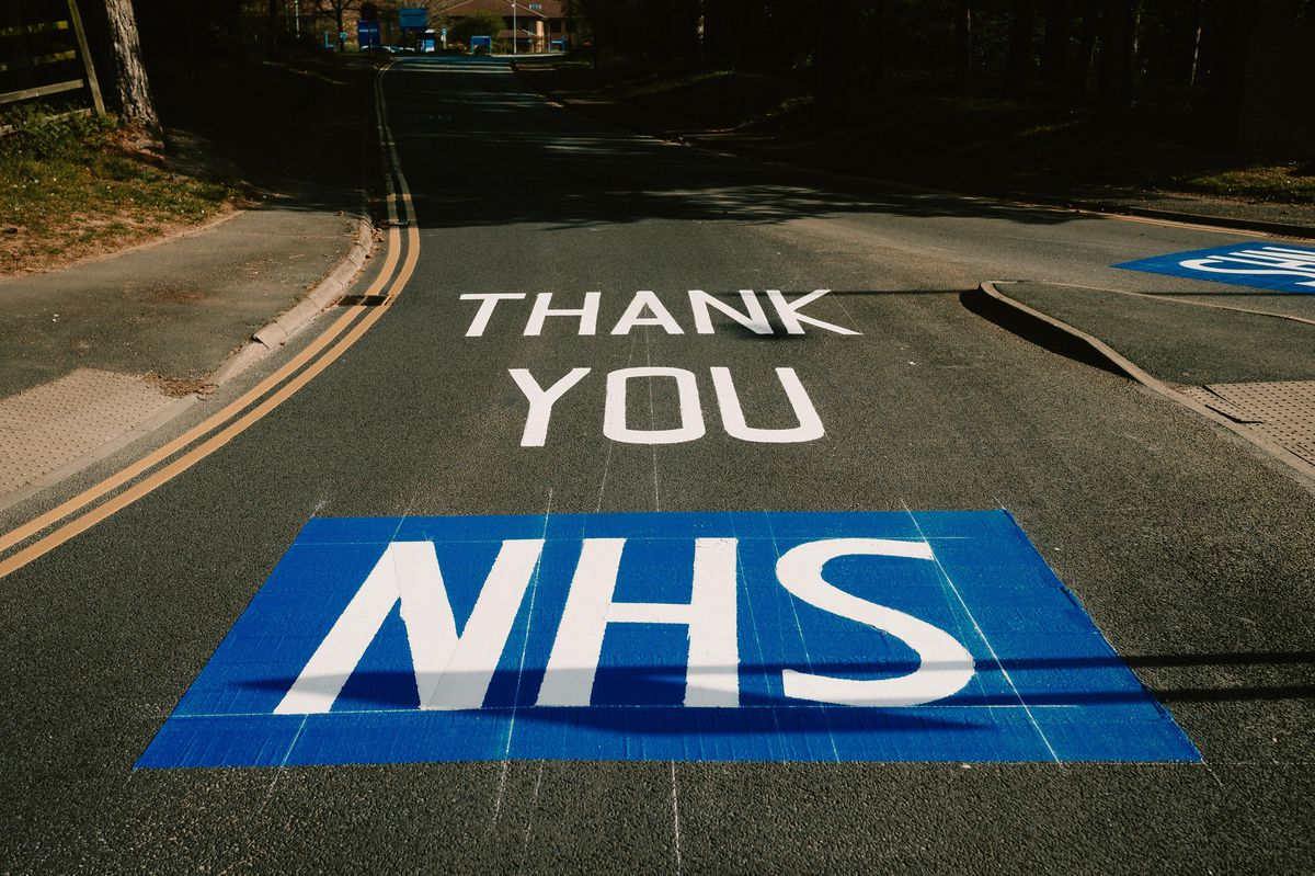 A thank you sign next to the hospital from Telford & Wrekin Council workers