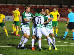 Leo Smith(21) of TNS scores to make it 2-1 during the Europa League qualifying fixture between TNS (The New Saints)(WAL) and MSK Zilina (SVK) at Park Hall Picture credit: Mike Sheridan/Ultrapress