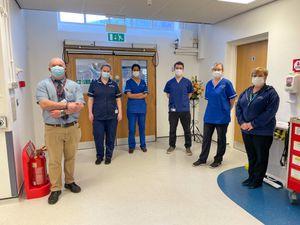 Hospital workers, from left: Charles Jaffrey, Becky Edwards, Simran Kaur, Samuel Jones, Faye Merley and Kathy Roberts