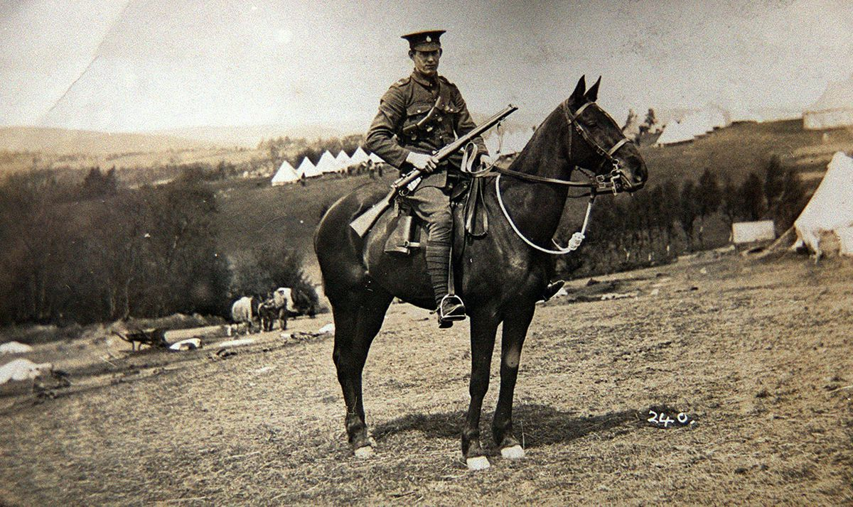 A mounted soldier of the Shropshire Yeomanry just before the Great War. This is Private W C Pitchford at camp at Llangammarch Wells. It is thought that he may have hailed from Dawley area.