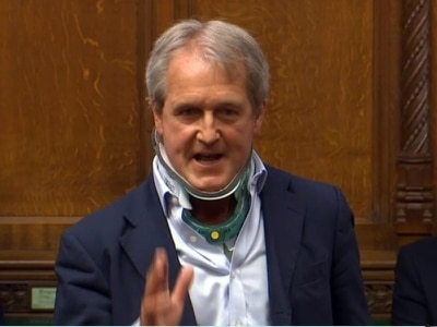 MP Owen Paterson back in House of Commons four months after breaking back in horse fall - with video