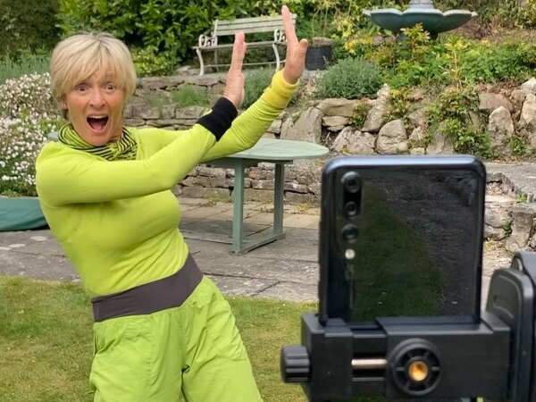One of Benny Hill's 'Angels' leading fun online dance classes from Llangollen home