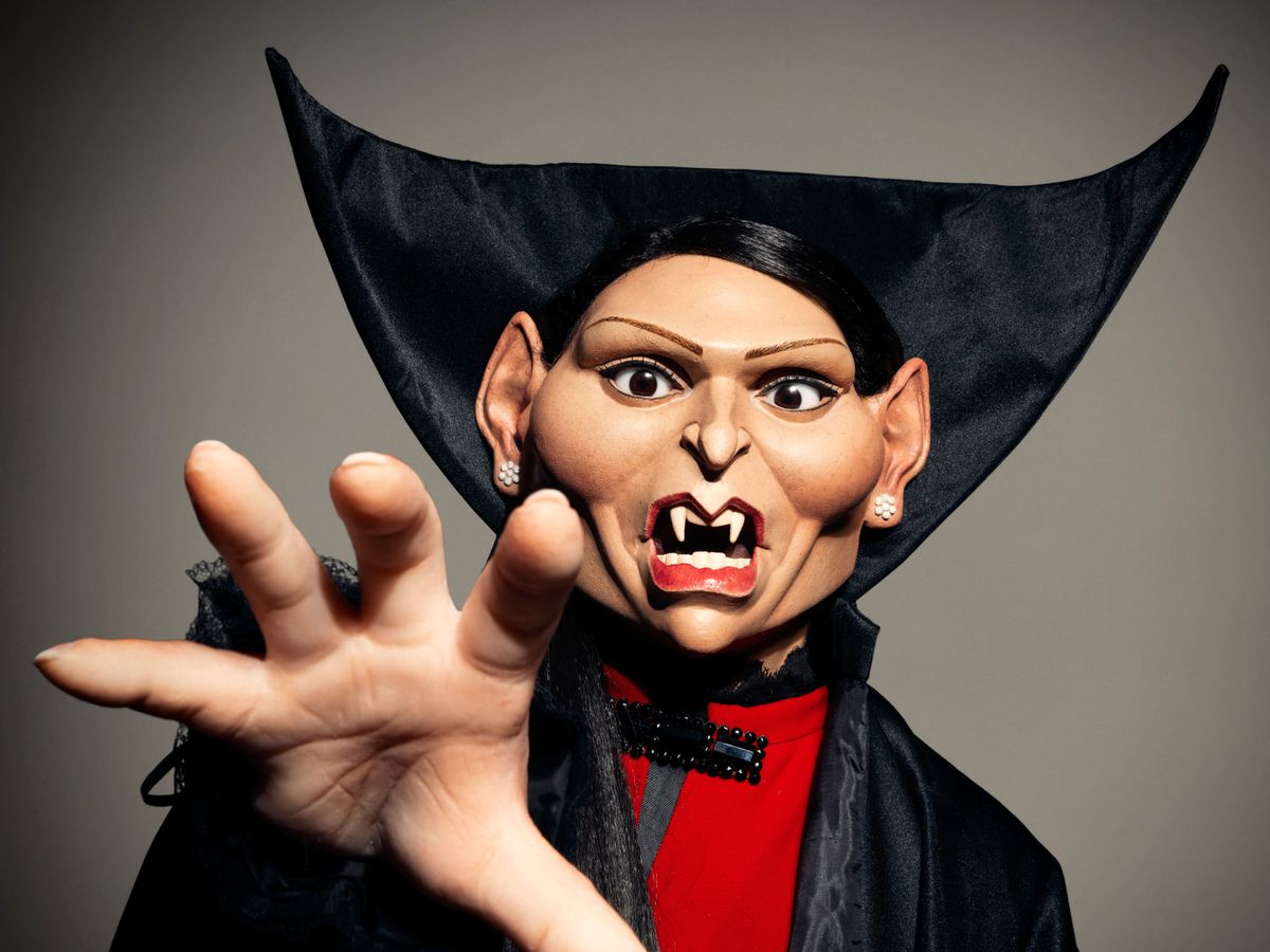 Priti Patel as a Spitting Image puppet