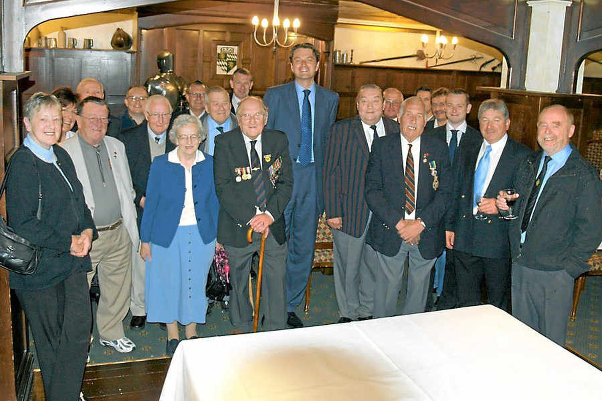 Members of the Royal Society of St George Shropshire branch commemorate D-Day five years ago. Harry Langford was the oldest member of the branch. He is seen left centre with his medals.