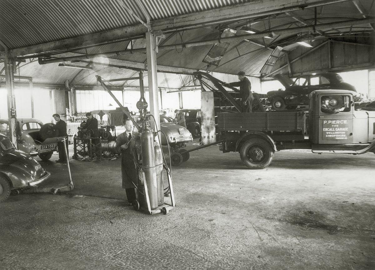 Inside Pierce's Garage - also known as The Ercall Garage - in 1956.