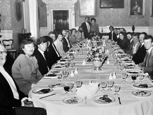 This doesn't look very rock 'n' roll, does it? But it is, because this February 1984 photo shows the occasion when the entourage behind top rock band Genesis gathered for a special lunch at Weston Park hosted by the Countess of Bradford. The group, which had just completed five-day sellout appearances at the National Exhibition Centre in Birmingham, had given £100,000 to charity, and the lunch was organised to say thank you to everyone involved in the staging of the concerts.