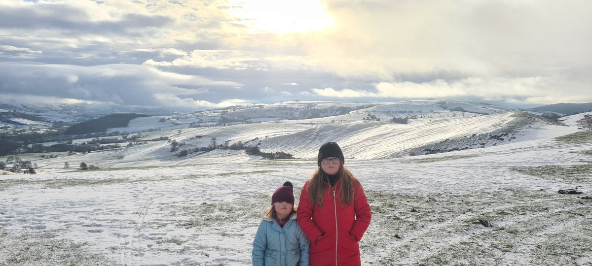 Teigan and Maisie Box at a snowy Stiperstones. Pic: Ben Ford