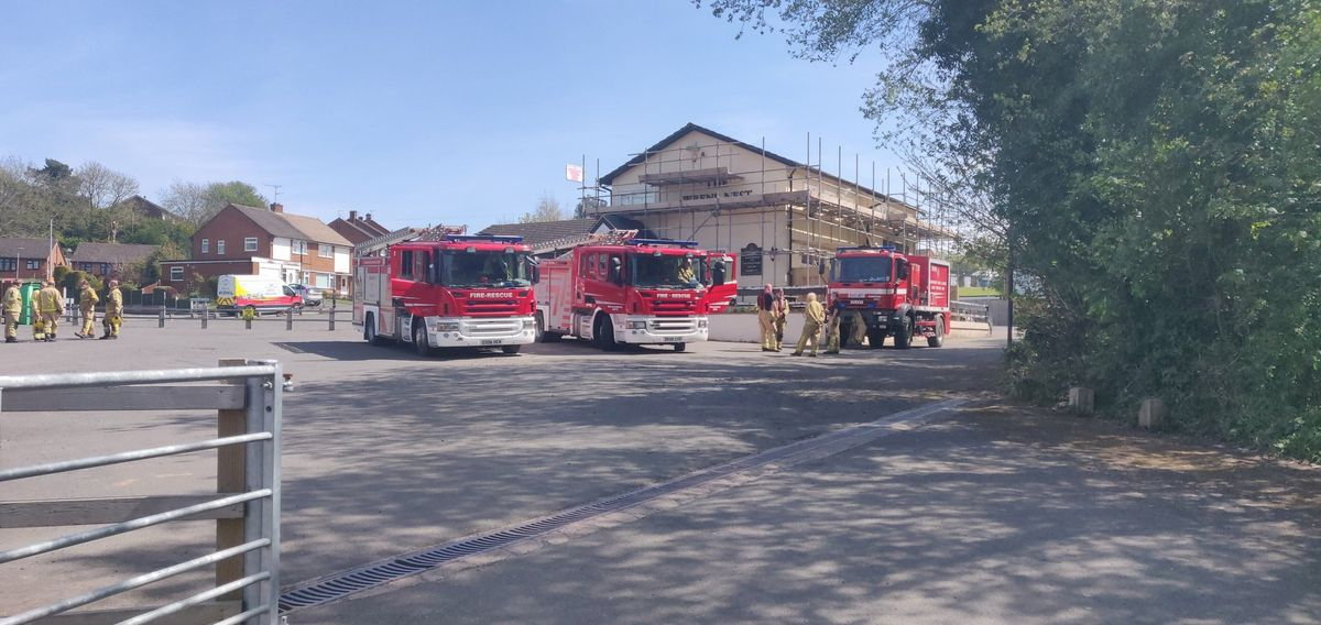 Some fire crews have set up outside the nearby Wren's Nest pub
